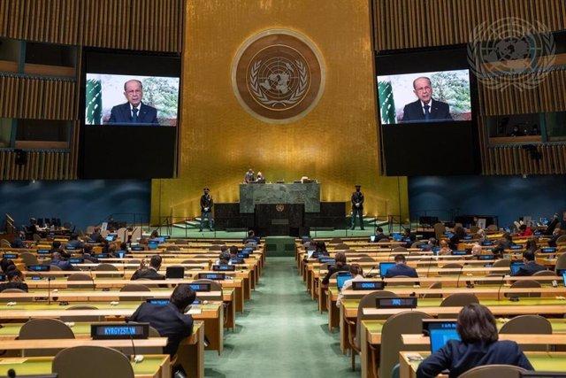El presidente de Líbano, Michel Aoun, ante la Asamblea General de la ONU