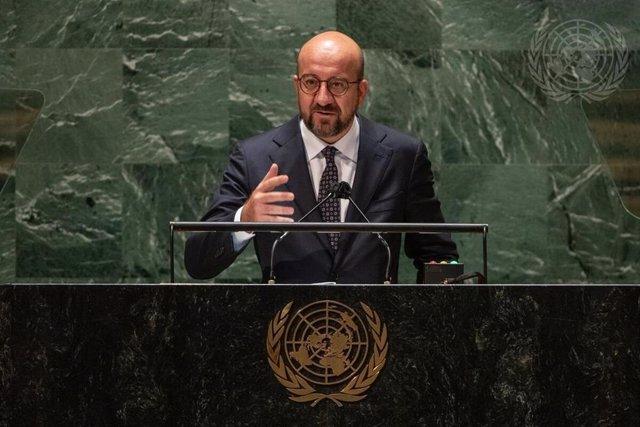 El presidente del Consejo Europeo, Charles Michel, ante la Asamblea General de la ONU
