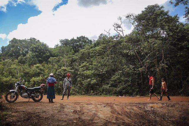 Personas se reúnen en un campo de las FARC después de la ratificación de los Acuerdos de Paz.