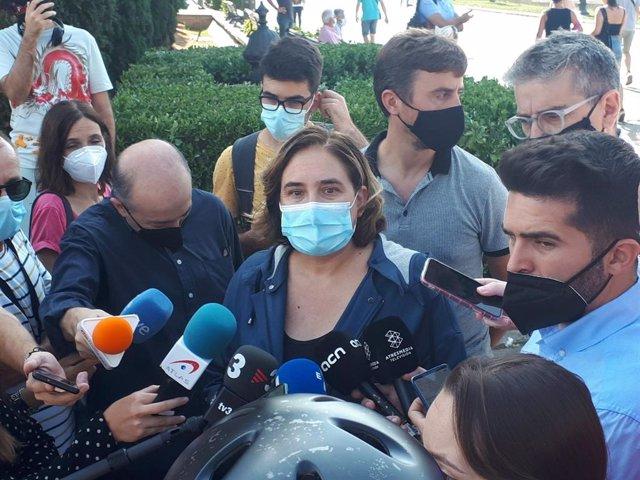 L'alcaldessa de Barcelona, Ada Colau, en declaracions als mitjans.
