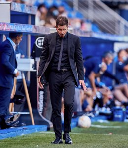 Diego Pablo Simeone, coach of Atletico de Madrid, gestures during the Spanish league, La Liga Santander, football match played between Deportivo Alaves and Atletico de Madrid at Mendizorroza stadium on September 25, 2021 in Vitoria, Spain.