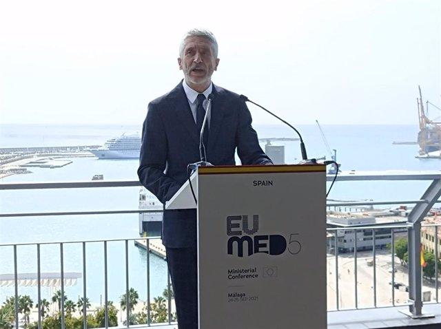 Fernando Grande-Marlaska, ministre de l'Interior, en roda de premsa