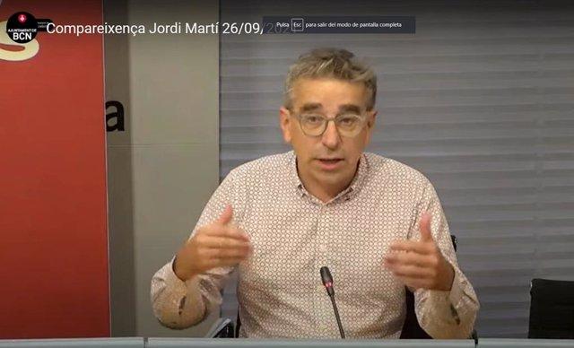 El tinent d'alcalde de Cultura de Barcelona, Jordi Martí, en roda de premsa a l'Ajuntament de Barcelona