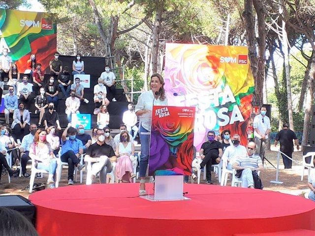 La ministra de Transports, Mobilitat i Agenda Urbana, Raquel Sánchez, en la Festa de la Rosa de Gavà (Barcelona)