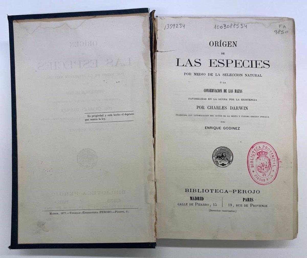 La primera edición en español del  Origen de las Especies  vuelve restaurado a la Biblioteca del Estado de Ciudad Real