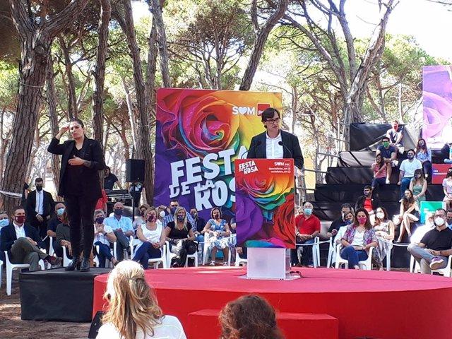 El líder del PSC en el Parlament, Salvador Illa, en la Festa de la Rosa de Gavà (Barcelona)