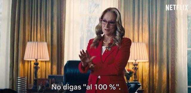"""Meryl Streep """"maquilla"""" el Apocalipsis en el Nuevo adelanto de No mires arriba"""