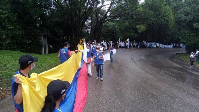 Archivo - Marcha por la Vida y por la Paz de la FARC para exigir el fin de la violencia y que se cumplan los Acuerdos de Paz