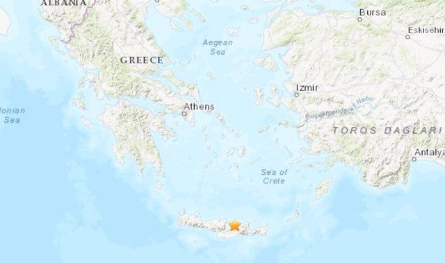 Terremoto frente a las costas de la isla de Creta, en Grecia