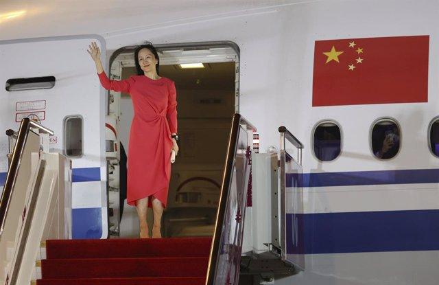 Meng Wanzhou llega al aeroupuerto de Shenzen