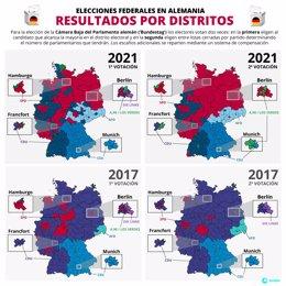 Resultados por distritos de las elecciones en Alemania
