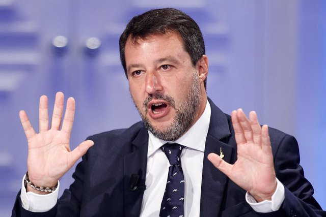 """21 September 2021, Italy, Rome: Matteo Salvini, leader of the Italian Lega party, speaks on the TV program """"Porta a Porta"""". Italian Lega leader Salvini is calling for a merger of the three centre-right parties in the European Parliament. Photo: Roberto Mo"""
