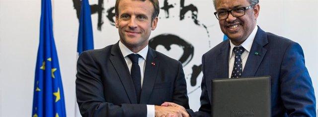 Archivo - Emmanuel Macron, Presidente de la República Francesa y el Dr. Tedros Adhanom Ghebreyesus, Director General de la OMS firmaron una Declaración de Intención para establecer la Academia de la OMS.