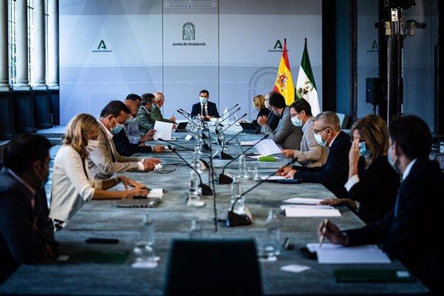 Archivo - Reunión del presidente de la Junta de Andalucía, Juanma Moreno, con el comité de expertos para la pandemia del coronavirus (Foto de archivo).