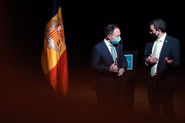El cap de govern d'Andorra, Xavier Espot, i el ceo de Grifols, Víctor Grífols Deu