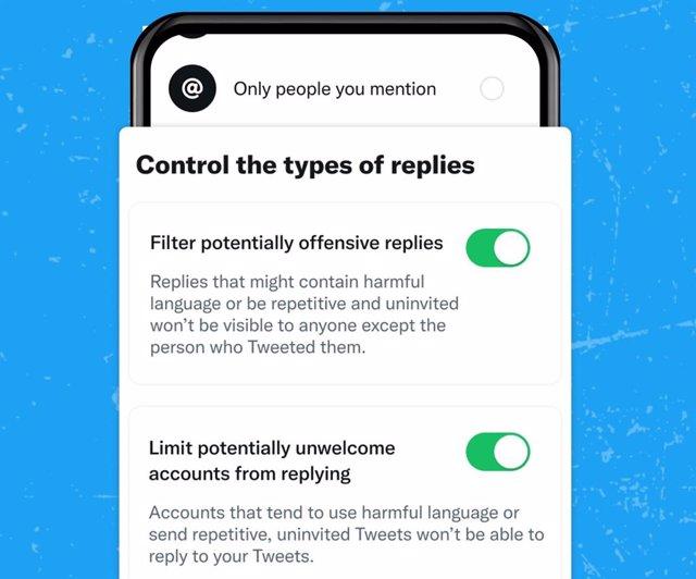 Concepto de 'limitar' y 'filtrar' en Twitter.