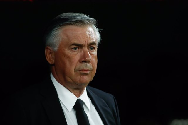 Carlo Ancelotti, coach of Real Madrid, looks on during the spanish league, La Liga Santander, football match played between Real Madrid and Villarreal CF at Santiago Bernabeu stadium on Septenber 25, 2021, in Madrid, Spain.