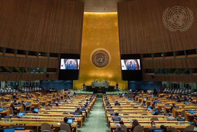 El presidente de Yibuti, Ismail Omar Guelleh, habla en vídeo ante la Asamblea General de la ONU.