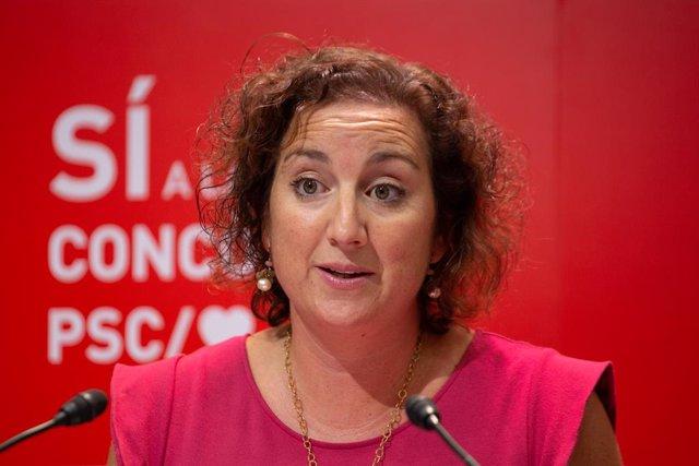 La portavoz del PSC en el Parlament, Alicia Romero, interviene en una rueda de prensa telemática, a 20 de septiembre de 2021, en Barcelona, Catalunya, (España). En la comparecencia, Romero ha llamado a abrir un debate y una reflexión con expertos sobre la