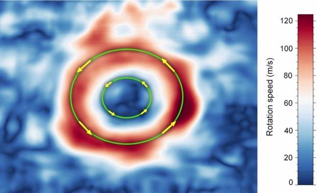 La velocidad promedio del viento justo dentro de los límites de la Gran Mancha Roja, marcada por el círculo verde exterior, ha aumentado hasta en un 8 por ciento entre 2009 y 2020. Y excede los 600 km. Por hora.