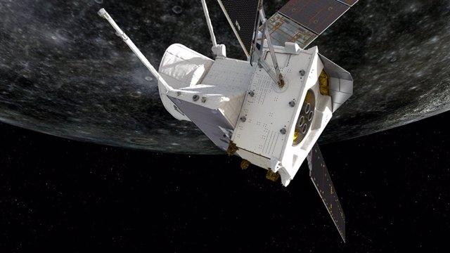 Ilustración artística de la misión orbitando Mercurio