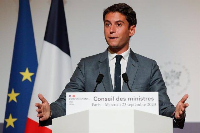 Archivo - El portavoz del Gobierno de Francia, Gabriel Attal