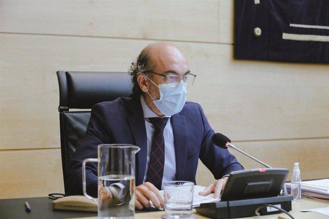 El consejero de Cultura y Turismo, Javier Ortega, durante su comparecencia en las Cortes.