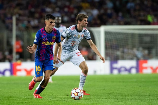 Pedri Gonzalez of FC Barcelona in action during the UEFA Champions League, football match played between FC Barcelona and Bayern Munich at Camp Nou Stadium on September 14, 2021, in Barcelona, Spain.