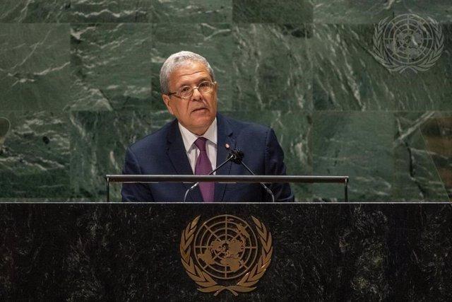 El ministro de Relaciones Exteriores de Túnez, Othman Jerandi, durante su intervención ante la Asamblea General de Naciones Unidas
