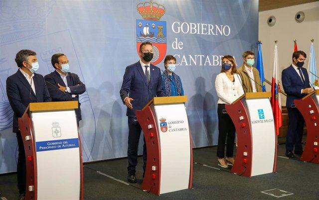 Rueda de prensa de los consejeros de Galicia, Asturias, Cantabria y Castilla y León y los representantes de UPA, ASAJA y COAG sobre la protección del lobo