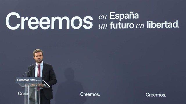 El presidente del PP, Pablo Casado, interviene en la segunda jornada de la Convención Nacional del  PP en Valladolid.