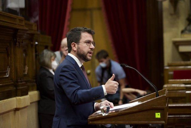El president de la Generalitat, Pere Aragonès, en el debat de política general al Parlament