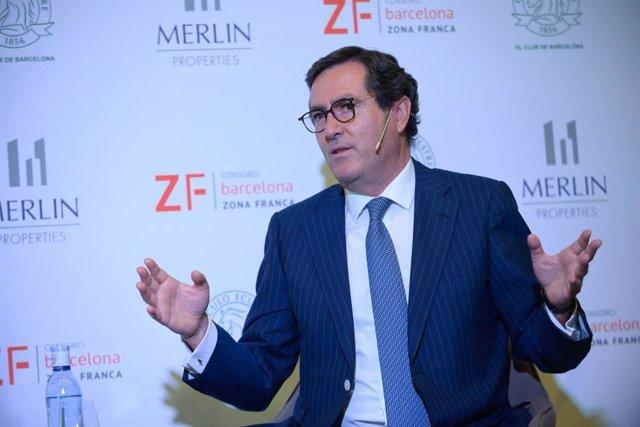 El president de la Ceoe, Antonio Garamendi, durant la trobada