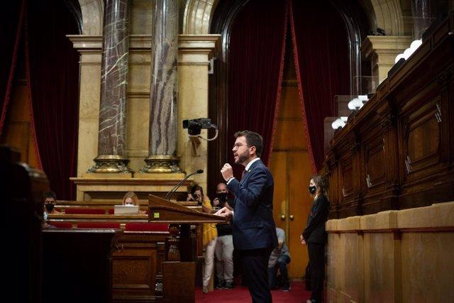 El president de la Generalitat, Pere Aragonès, en el debat de política general