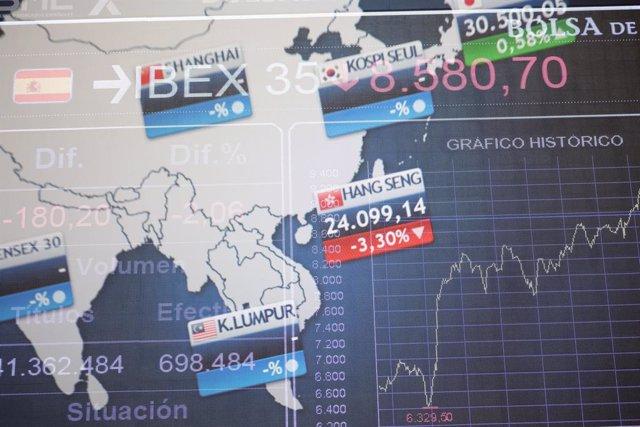 Valores de la Bolsa en el Palacio de la Bolsa de Madrid, a 20 de septiembre de 2021, en Madrid, (España).