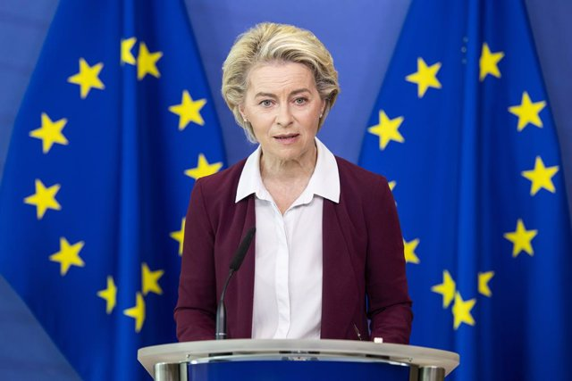 Archivo - HANDOUT - 10 July 2021, Belgium, Brussels: President of the European Commission, Ursula von der Leyen speaks during a virtual press conference at Berlaymont, the EU Commissions headquarters in Brussels. Photo: Lukasz Kobus/EU Commision /dpa - AT