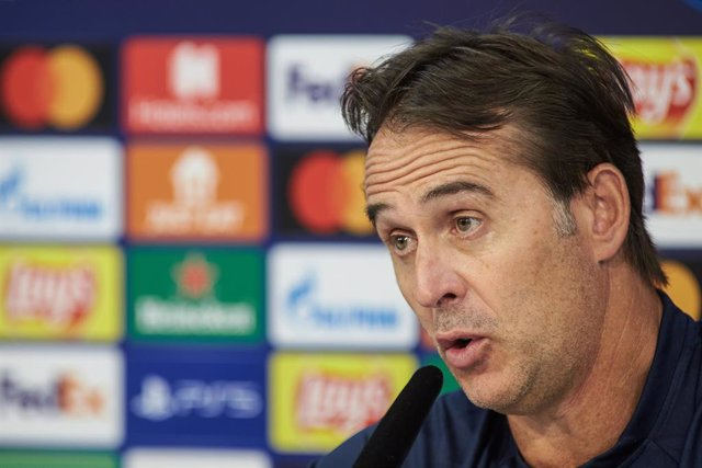 Julen Lopetegui, head coach, attends to the media during a press conference before the UEFA Champions League match between Sevilla FC and RB Salzburg at Jose Ramon Cisneros Sport City on September 13, 2021 in Sevilla, Spain.