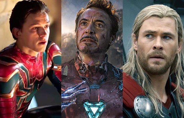 Tom Holland, Robert Downey Jr. y Chris Hemsworth como Spider-Man, Iron Man y Thor
