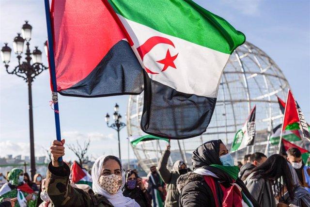Archivo - Protesta por la autodeterminación del Sáhara Occidental en San Sebastián