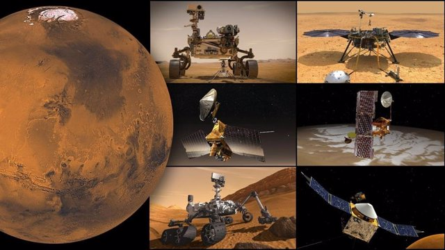 Misiones de la NASA a Marte, en el sentido de las agujas del reloj desde la parte superior izquierda: rover Perseverance y helicóptero Ingenuity, módulo de aterrizaje InSight, orbitador Odyssey, orbitador MAVEN, rover Curiosity y Mars Reconnaissance