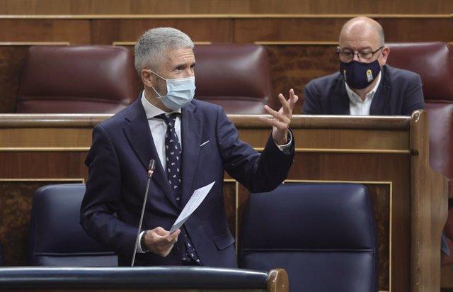Arxiu - El ministre d'Interior, Fernando Grande-Marlaska, intervé en una sessió de control al Congrés dels Diputats