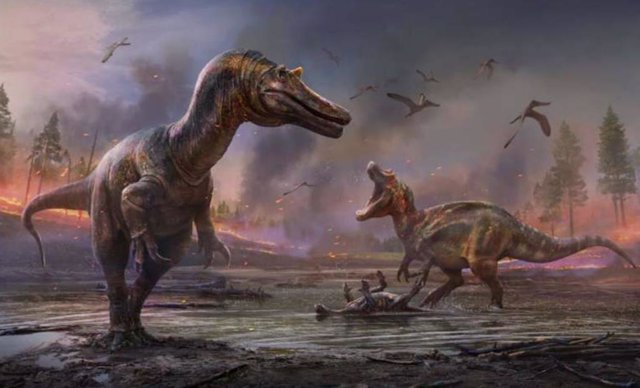 Impresiones artísticas de los espinosáuridos. Ceratosuchops inferodios en primer plano, Riparovenator milnerae en segundo plano.