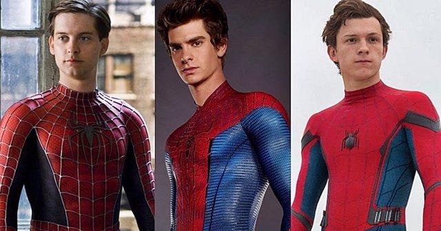 Archivo - Tobey Maguire, Andrew Garfield y Tom Holland juntos en Spider-Man 3