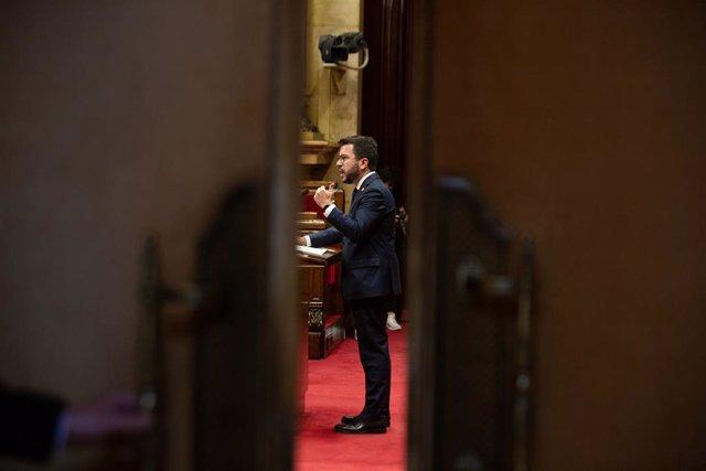 El president de la Generalitat, Pere Aragonès, durant el debat de política general al Parlament