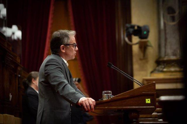 El president d'ERC al Parlament, Josep Maria Jové, en el debat de política general