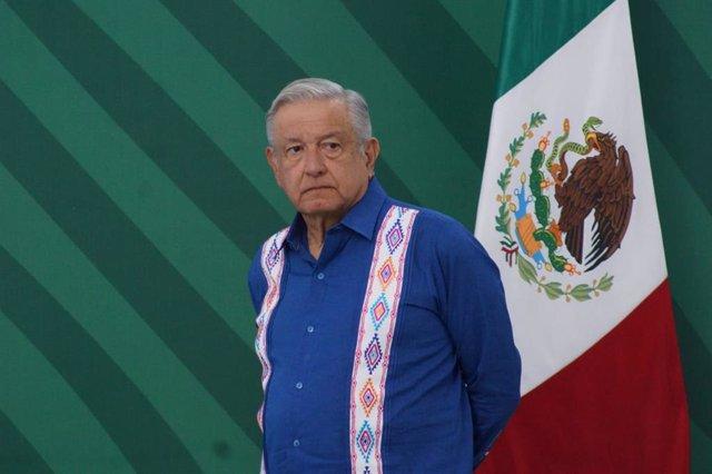 20 September 2021, Mexico, Oaxaca: Mexican President Andres Manuel Lopez Obrador attends his daily press conference. Photo: -/El Universal via ZUMA Press Wire/dpa