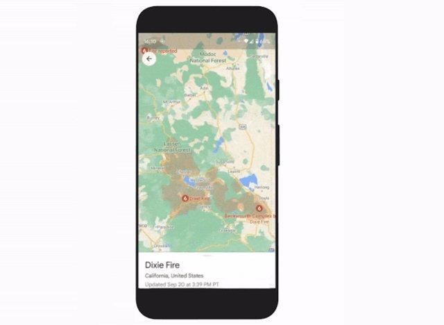 Nueva capa de incendios en Google Maps.