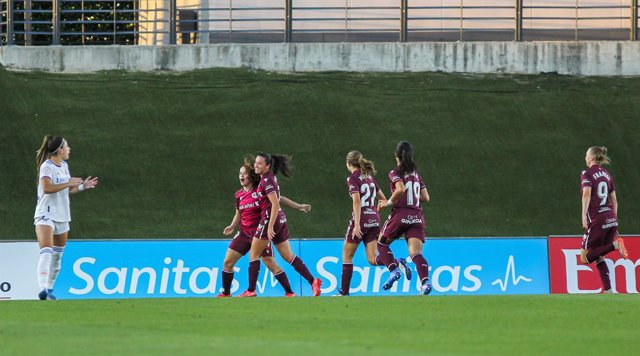 Nerea Eizaguirre of Real Sociedad celebrates a goal with teammates during the Spanish women's league, Primera Iberdrola, football match played between Real Madrid and Real Sociedad at Alfredo di Stefano Stadium on September 29th, 2021 in Madrid, Spain.