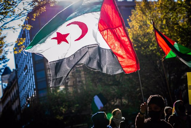 Archivo - 21 November 2020, Spain, San Sebastian: A boy waves the Western Sahara flag during a demonstration in support of the Polisario Front, a Sahrawi rebel national liberation movement aiming to end Moroccan presence in the Western Sahara, a disputed