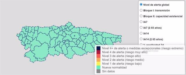 Nivel de alerta global por COVID-19 en Asturias a 30 de septiembre de 2021